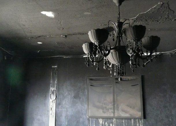 Состояние стен и потолка в квартире после пожара