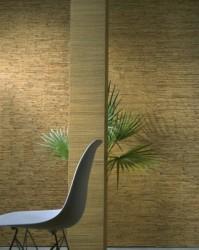 обои на основе древесного шпона в интерьере