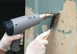 снятие старого слоя краски строительным феном