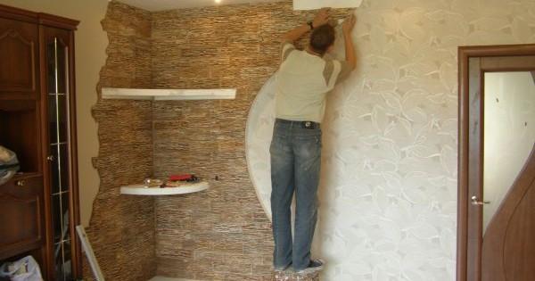 Отделка стен декоративным искусственным камнем