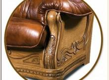 Кожанный диван с каркасом из твёрдых пород древесины