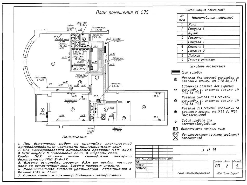 Пример плана электропроводки