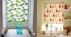 яркие шторы на кухне