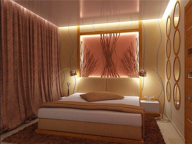 дизайн маленькой спальни натяжные потолки