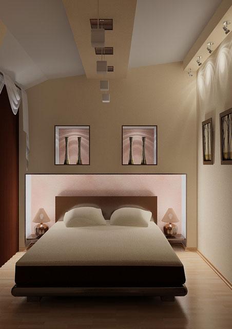 дизайн маленькой спальни освещение