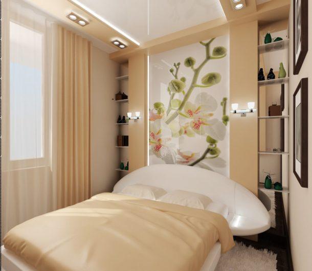 дизайн маленькой спальни светлые оттенки