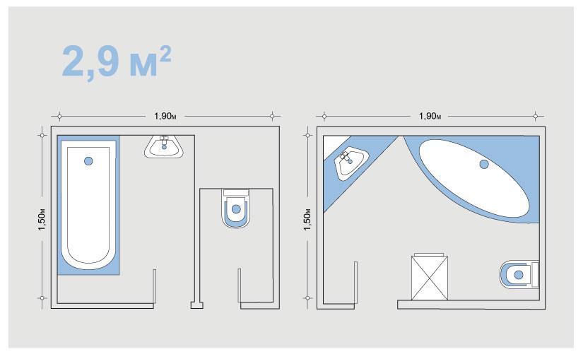 маленькая ванная комната планировка