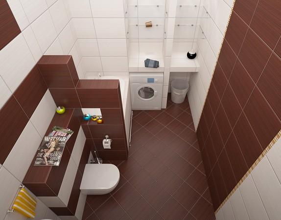 маленькая ванная комната плитка по диагонали