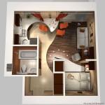 дизайн маленьких квартир зонирование