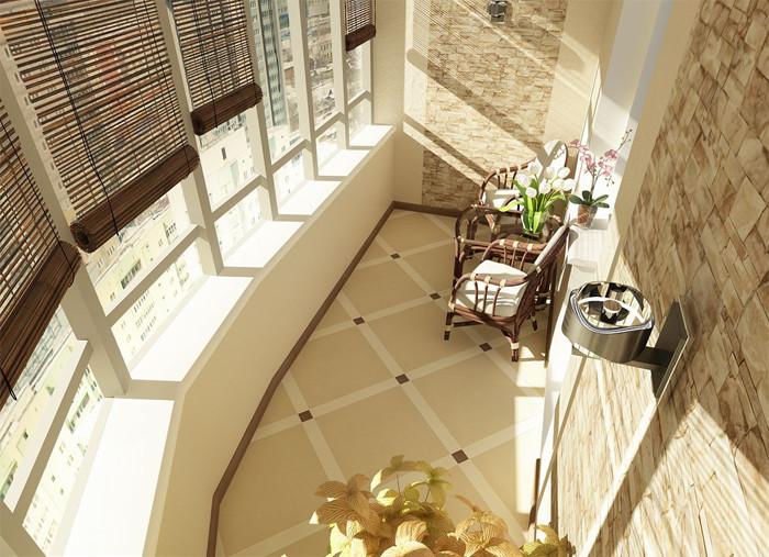 отделка балкона камнем 6