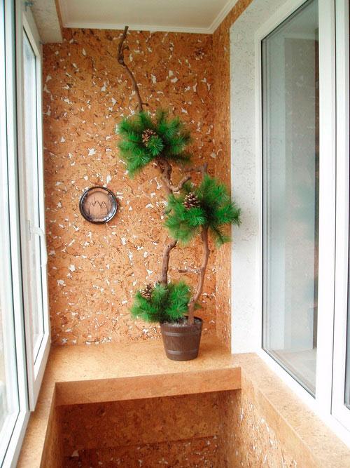 отделка балкона пробкой 2