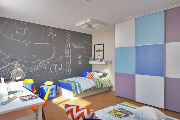интерьер маленькой детской комнаты мебель 5