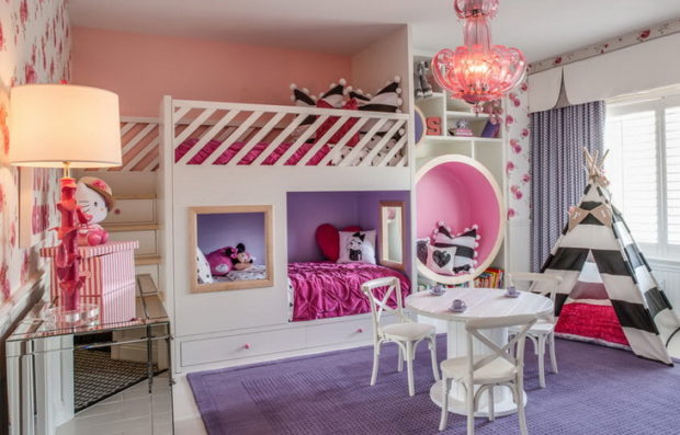интерьер маленькой детской комнаты мебель 62