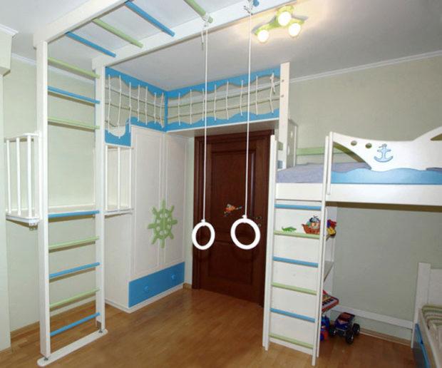 интерьер маленькой детской комнаты мебель 7