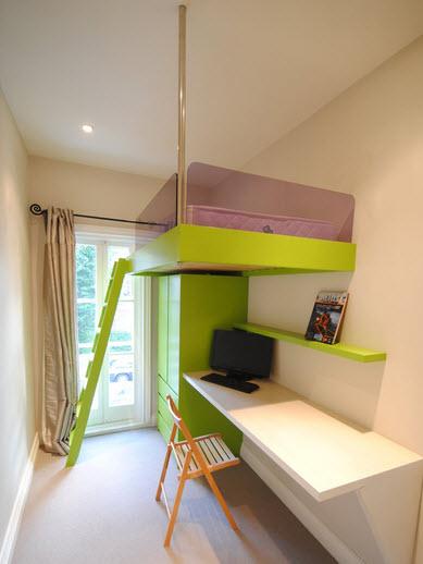 интерьер маленькой детской комнаты мебель 8