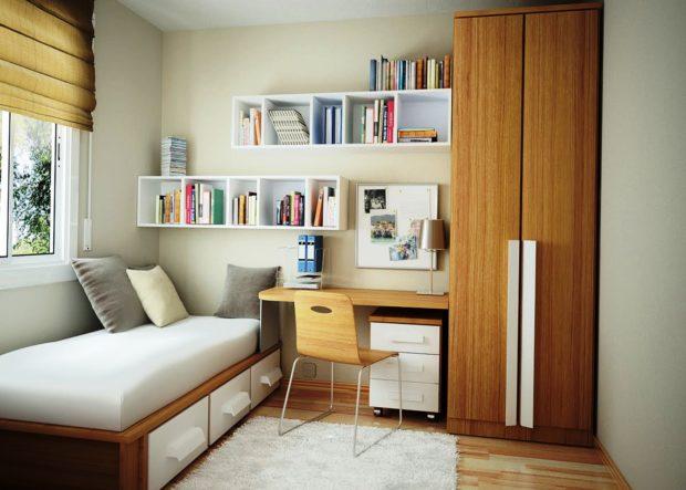 интерьер маленькой детской комнаты мебель 9