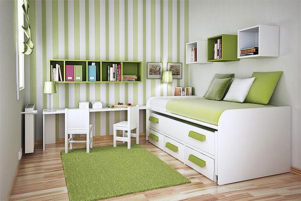 интерьер маленькой детской комнаты мебель