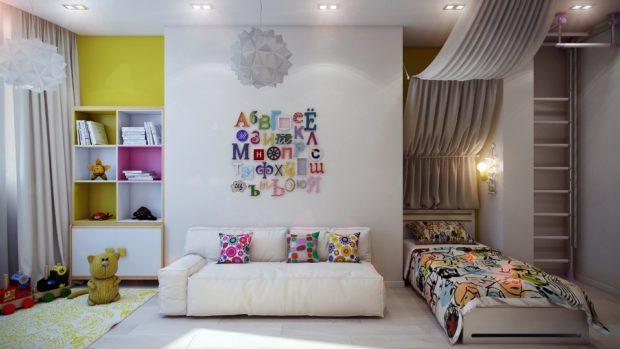 интерьер маленькой детской комнаты зонирование 2