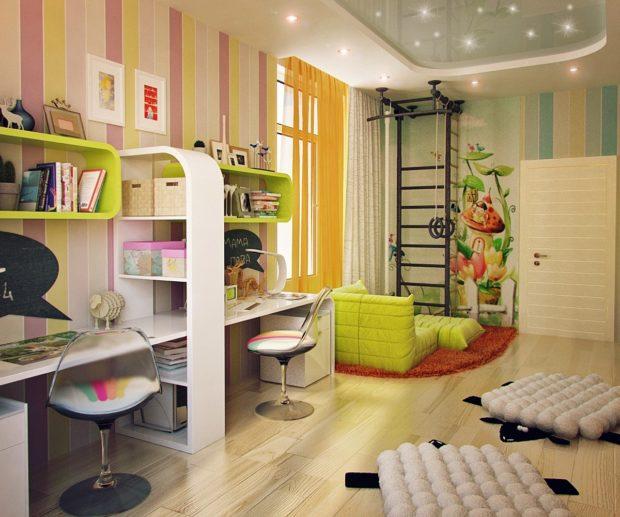 интерьер маленькой детской комнаты зонирование