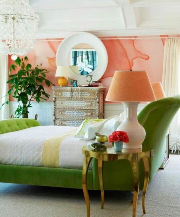 Зелёный и персиковый