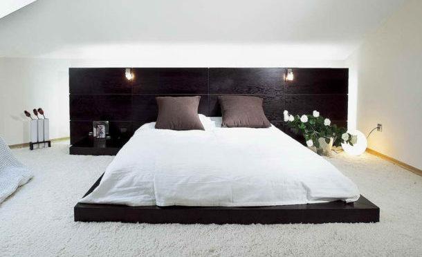 низкие кровати-платформы и кровати-подиумы