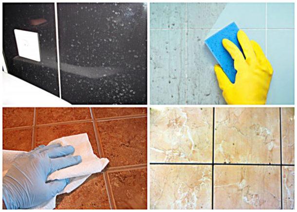 Чистка кафельной плитки средством для мытья стёкол