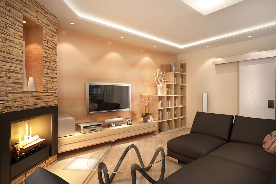 асимметричное расположение мебели в гостиной 2