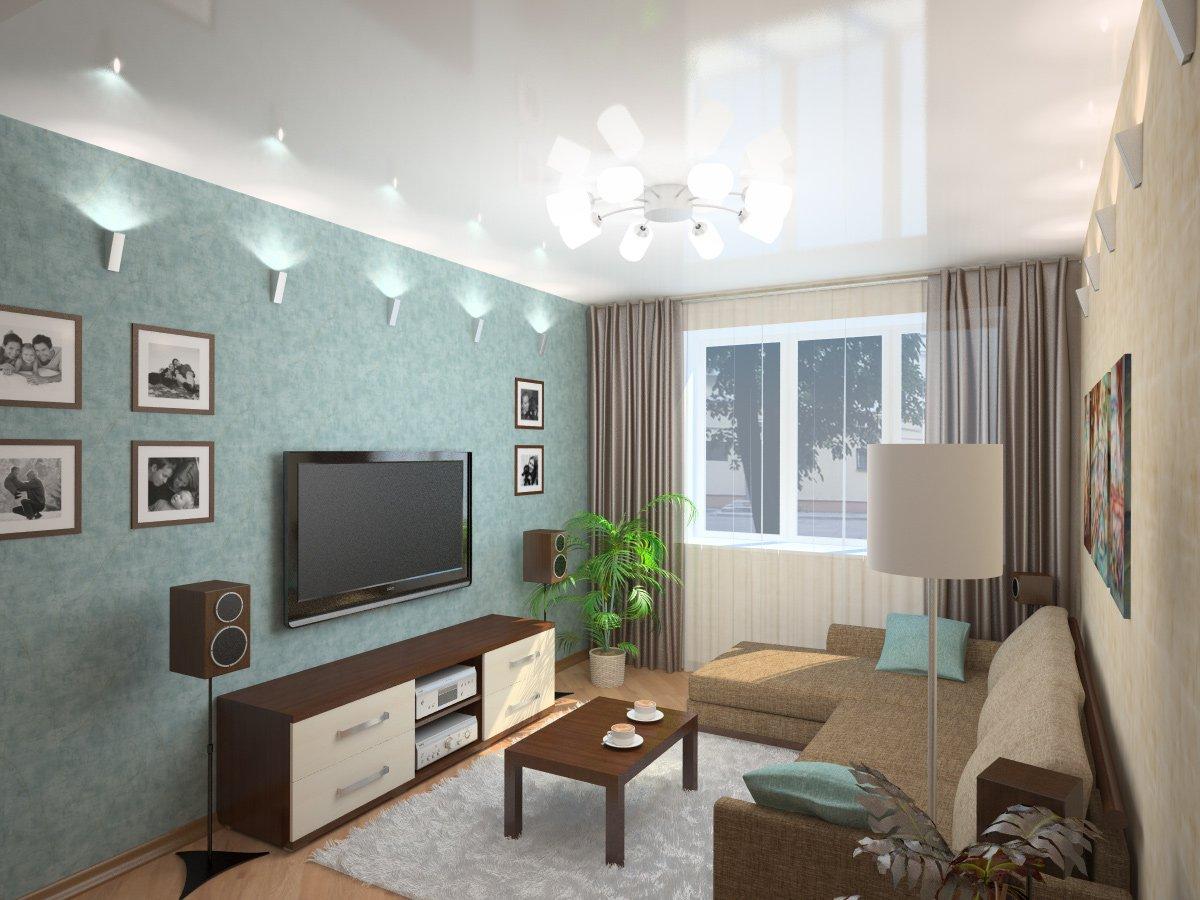 асимметричное расположение мебели в гостиной
