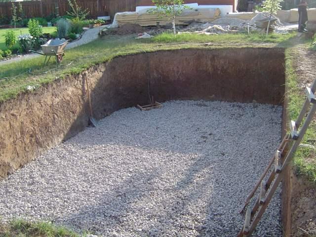 бассейн бетонный песчано-гравийная подушка
