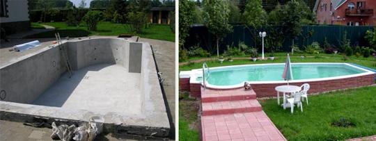 бассейн из бетона на даче