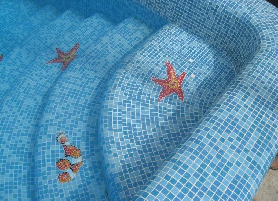 бассейн монтаж мозаики
