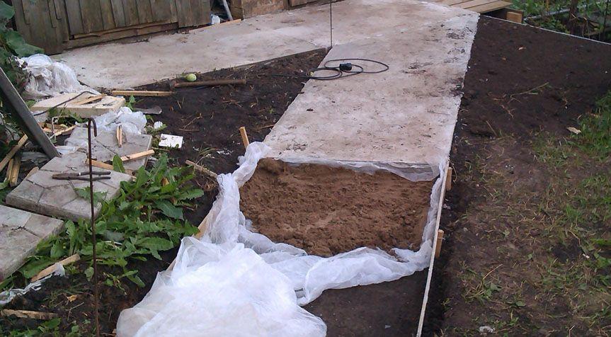 бетонная дорожка обустройство подушки 2