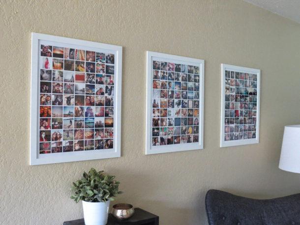 Композиции составленные из небольших фотографий на стене