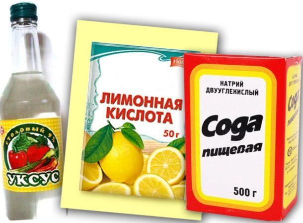 Уксус, лимонная кислота и сода для чистки унитаза от ржавчины