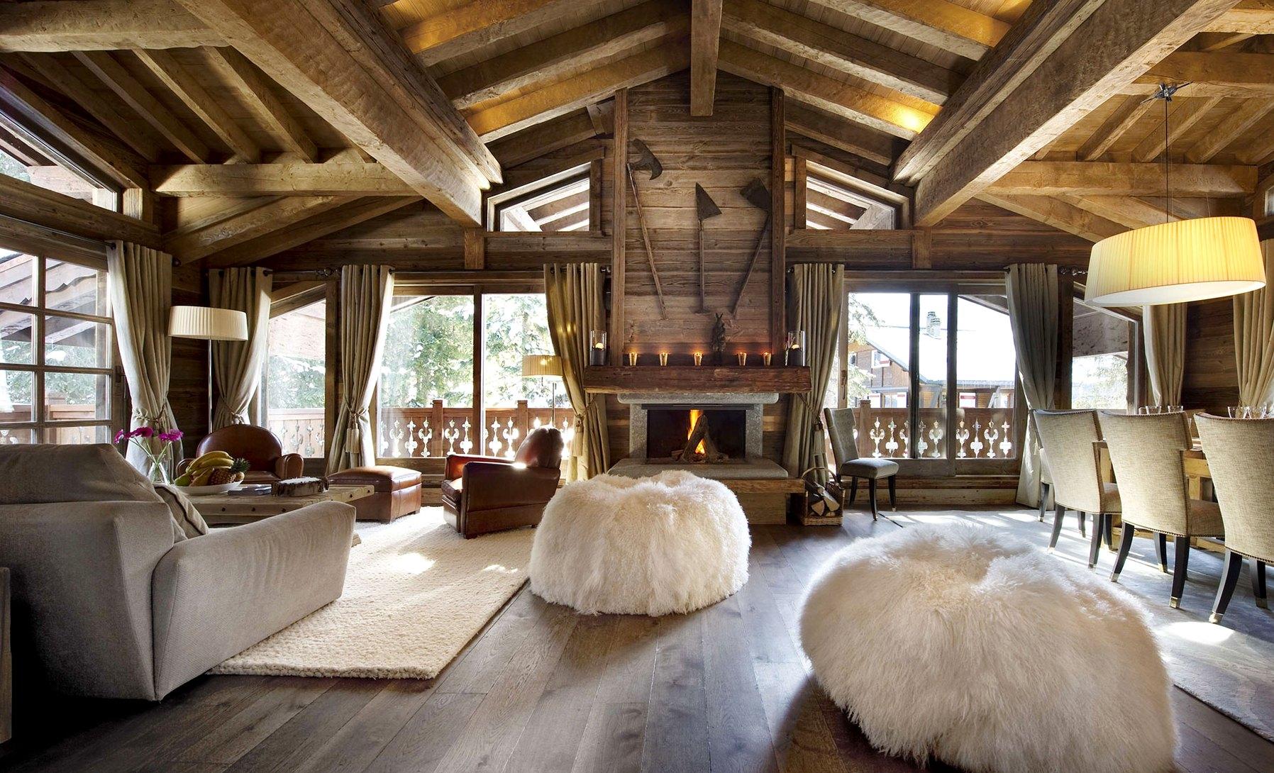 дачный дом интерьер в стиле шале