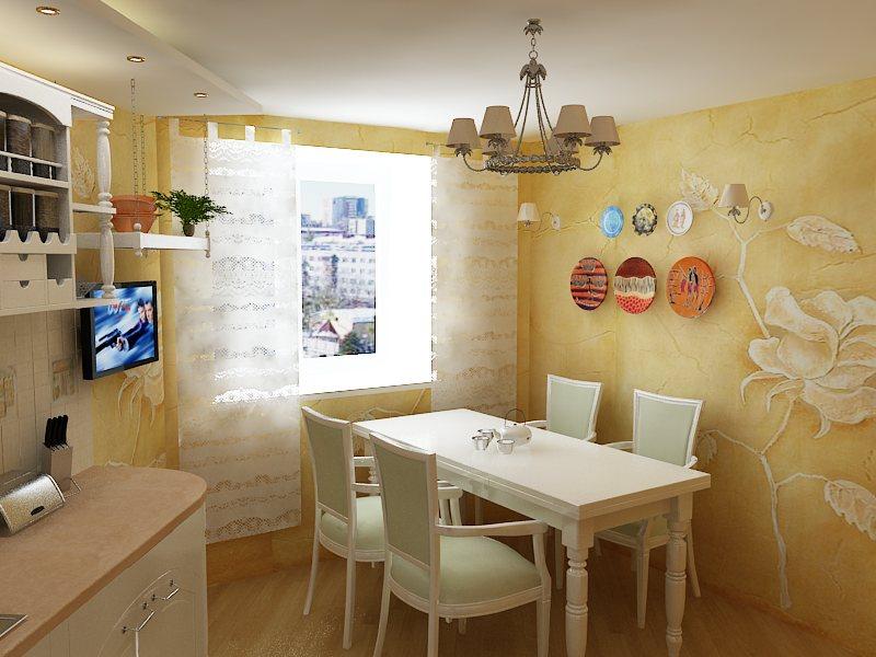 декоративная штукатурка для стен кухни 2