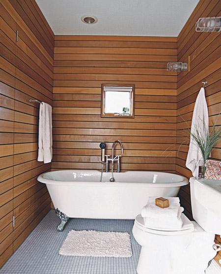 дерево для отделки стен ванной комнаты