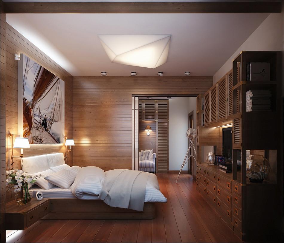 деревянная вагонка для стен спальни
