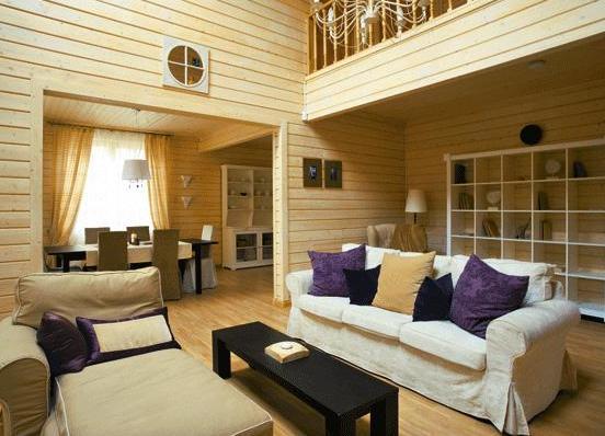 деревянная вагонка в гостиной