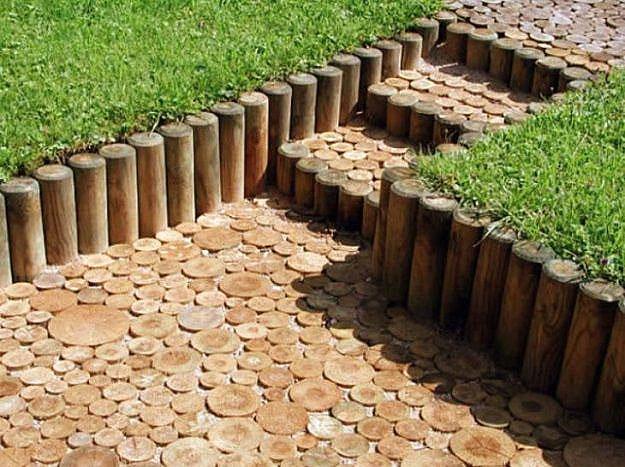 деревянный бордюр для садовых дорожек 3