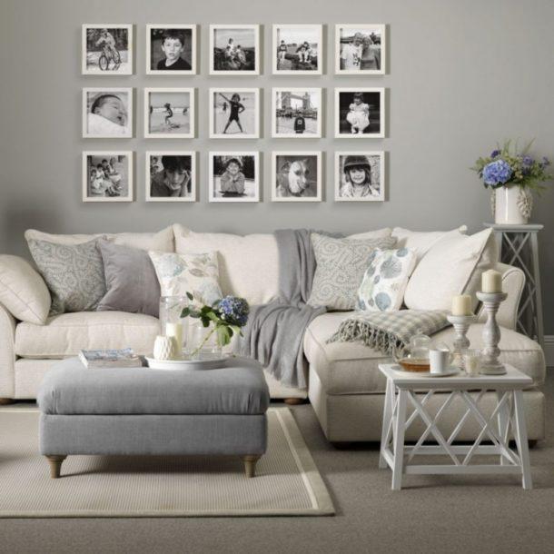 Размещение нескольких фотографий на стене в 3 ряда прямоугольником