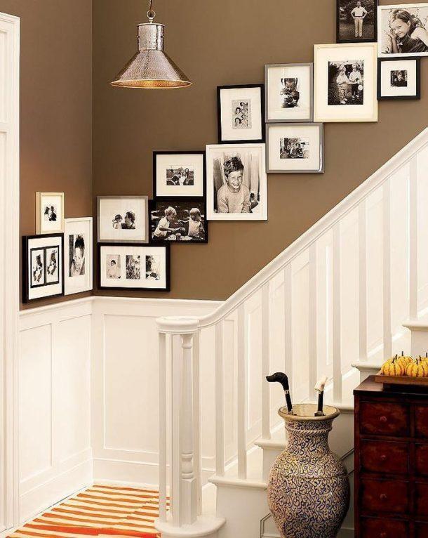 Размещение фотографий на стене вдоль лестницы по диагонали
