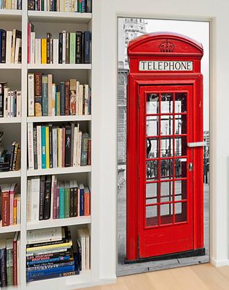Фотообои на дверь с имитацией под книжные полки и телефонную будку
