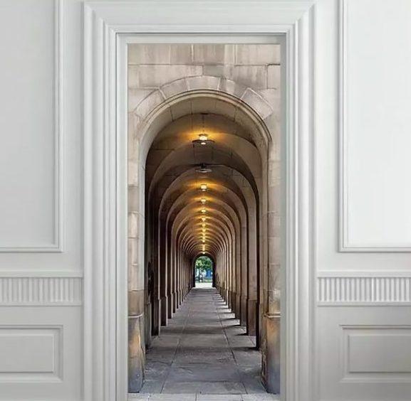 Фотообои на дверь с городским пейзажем