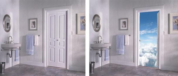 фотообои для дверей ванной комнаты и санузла