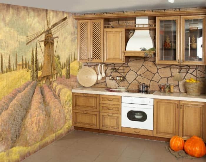 фотообои на кухне стиль