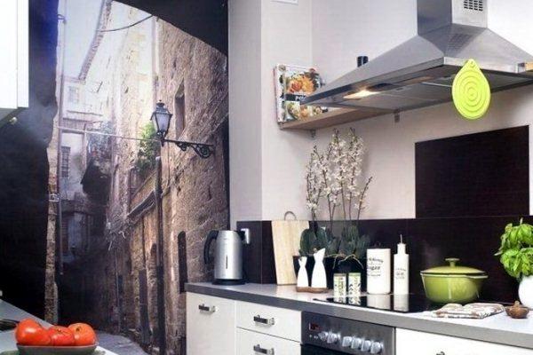 фотообои на узкую кухню