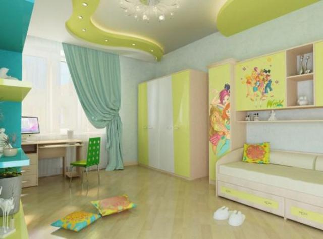 гипсокартон потолки в детской 3