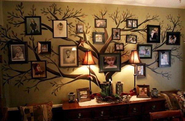 Размещение фотографий на стене в контуре рисунка