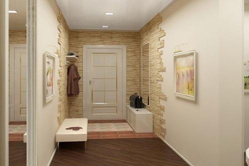 искусственный камень для стен в прихожей 3